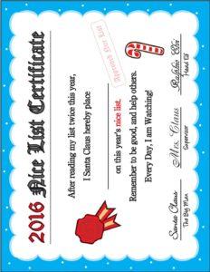 2016 Nice List Certificate