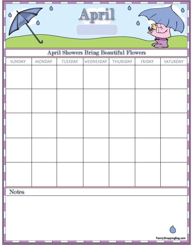 April Showers Calendar