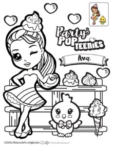 Ava Coloring Page Party Pop Teenies