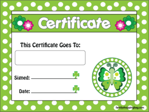 Award St. Patricks Day printable