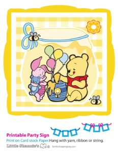Banner Pooh Baby Shower
