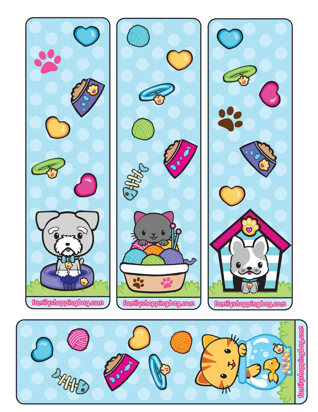 Book Marks Valentine Pups and Kittens
