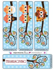 Bookmarks Thanksgiving