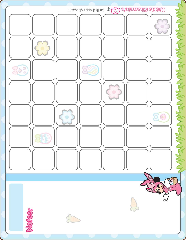 Calendar Mickey Mouse Easter