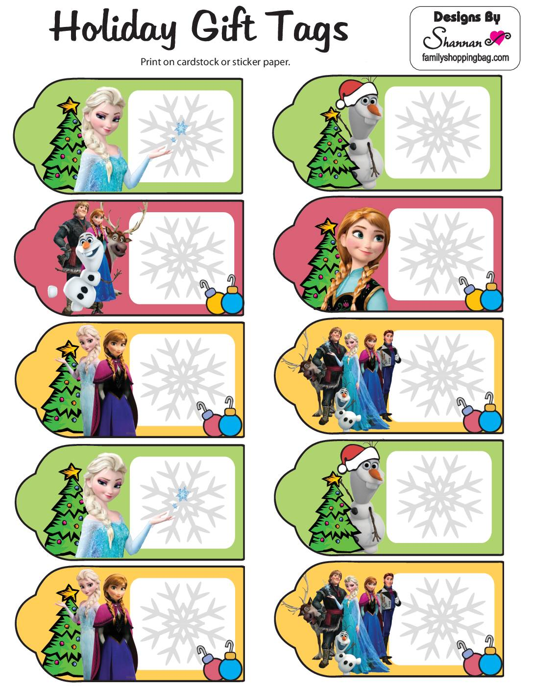 Frozen Christmas Tags