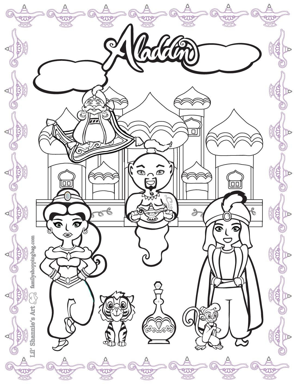 Coloring 5 Page Aladdin