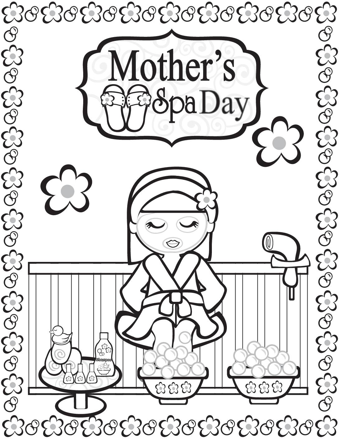Coloring Page 2 Moms Spa Day