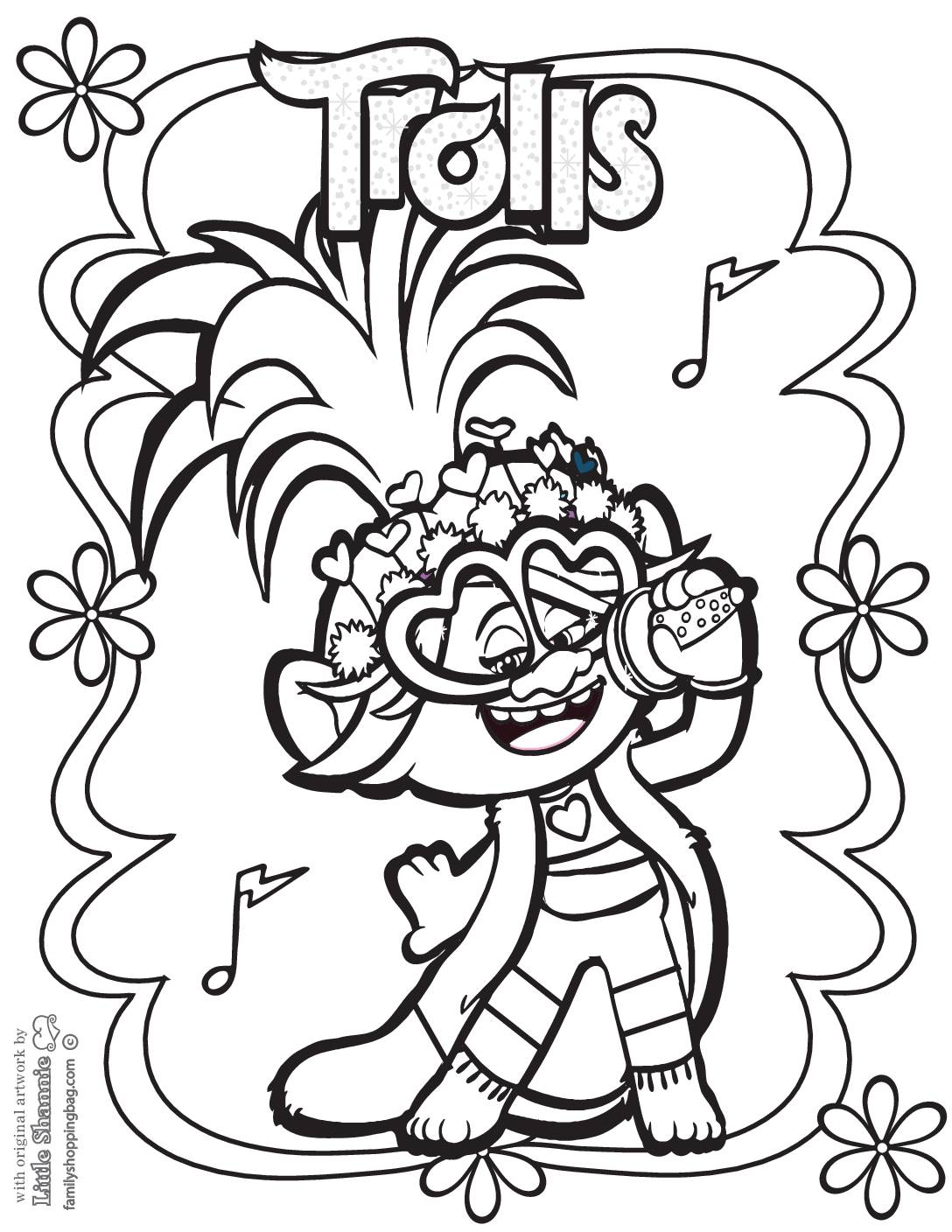 Coloring Page 2 Trolls
