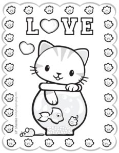 Coloring Page 2 Valentine Pups and Kittens