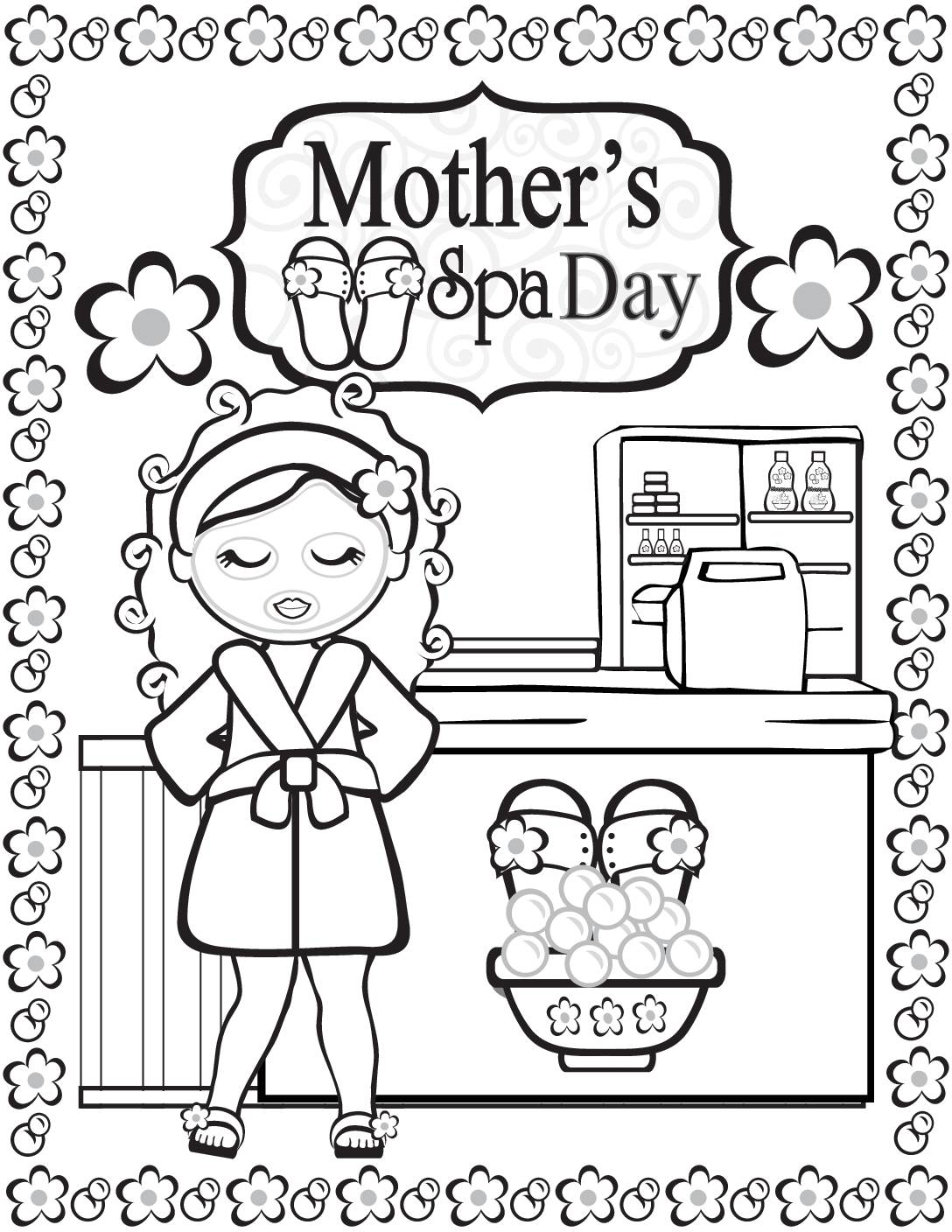 Coloring Page 3 Moms Spa Day