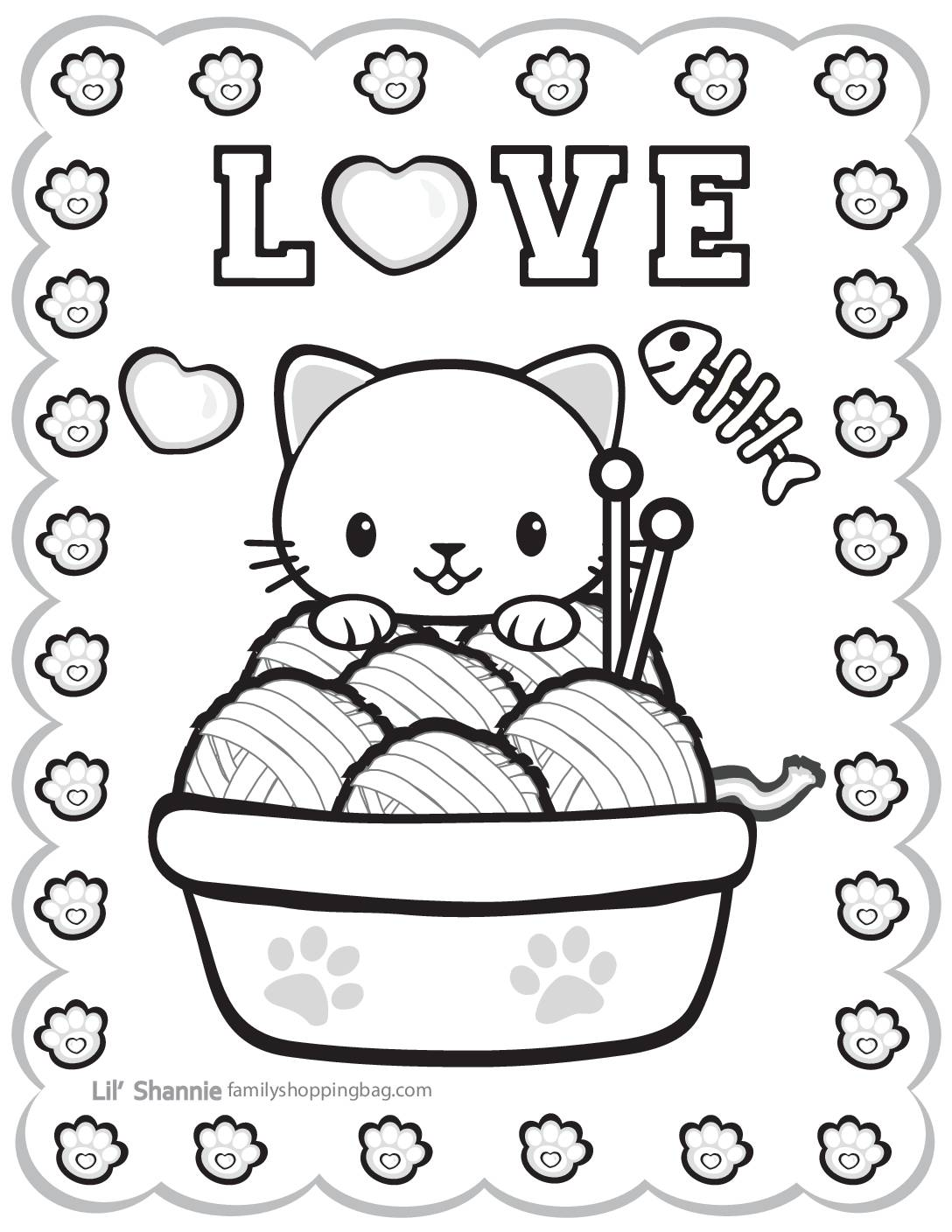 Coloring Page 3 Valentine Pups and Kittens