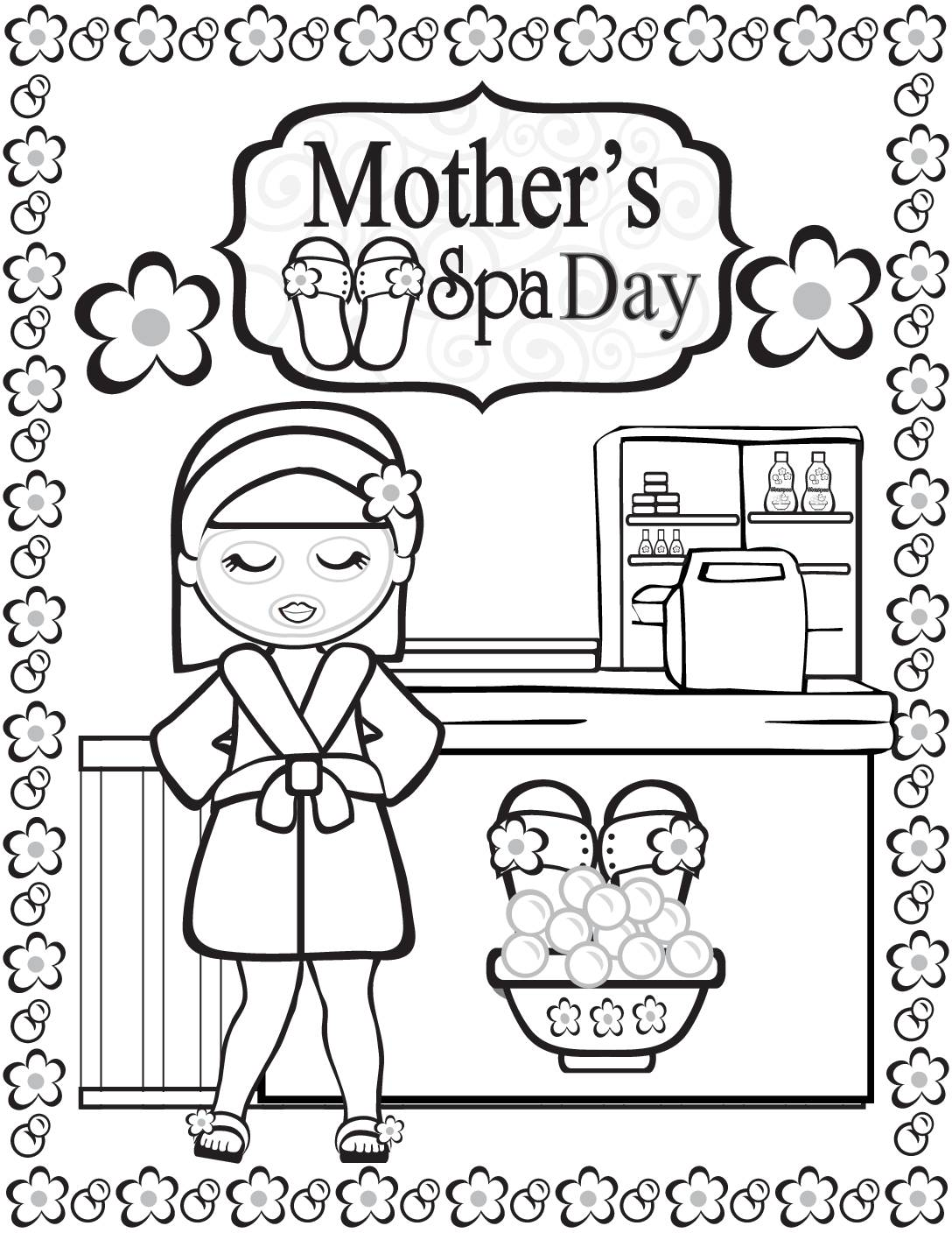 Coloring Page 4 Moms Spa Day