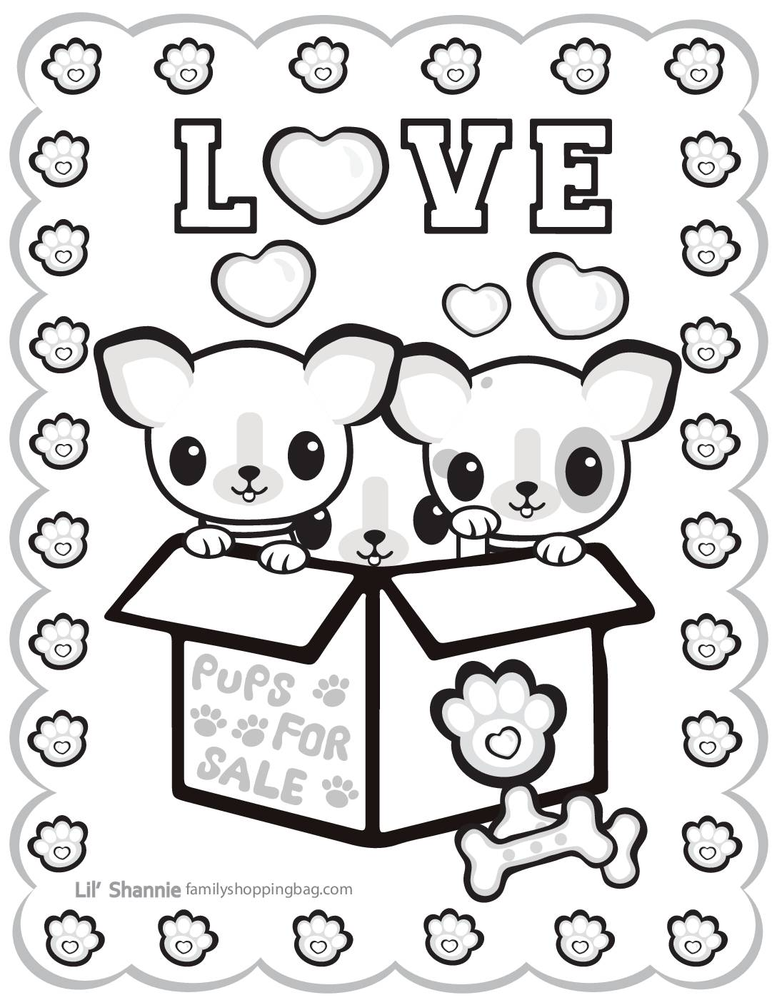 Coloring Page 4 Valentine Pups and Kittens