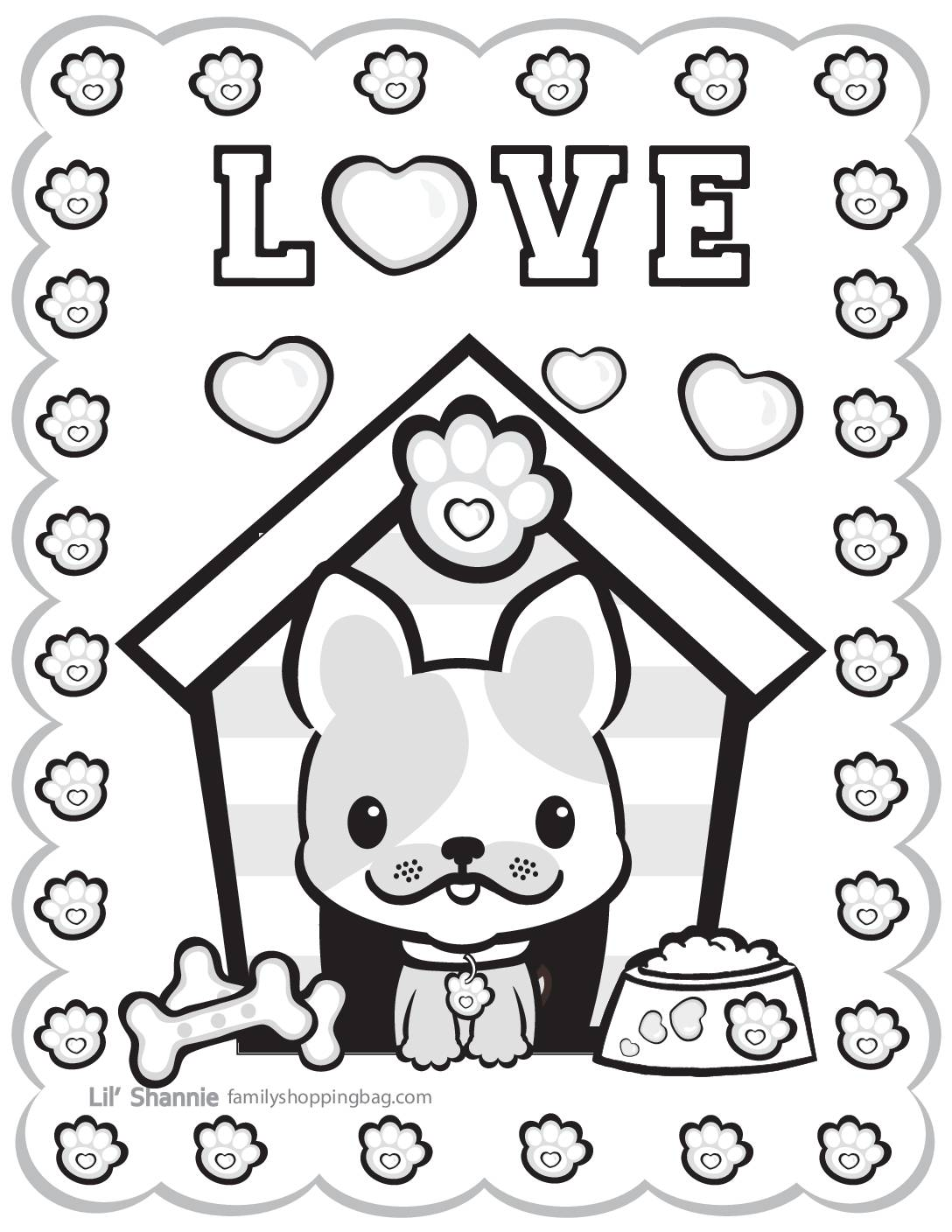 Coloring Page 5 Valentine Pups and Kittens