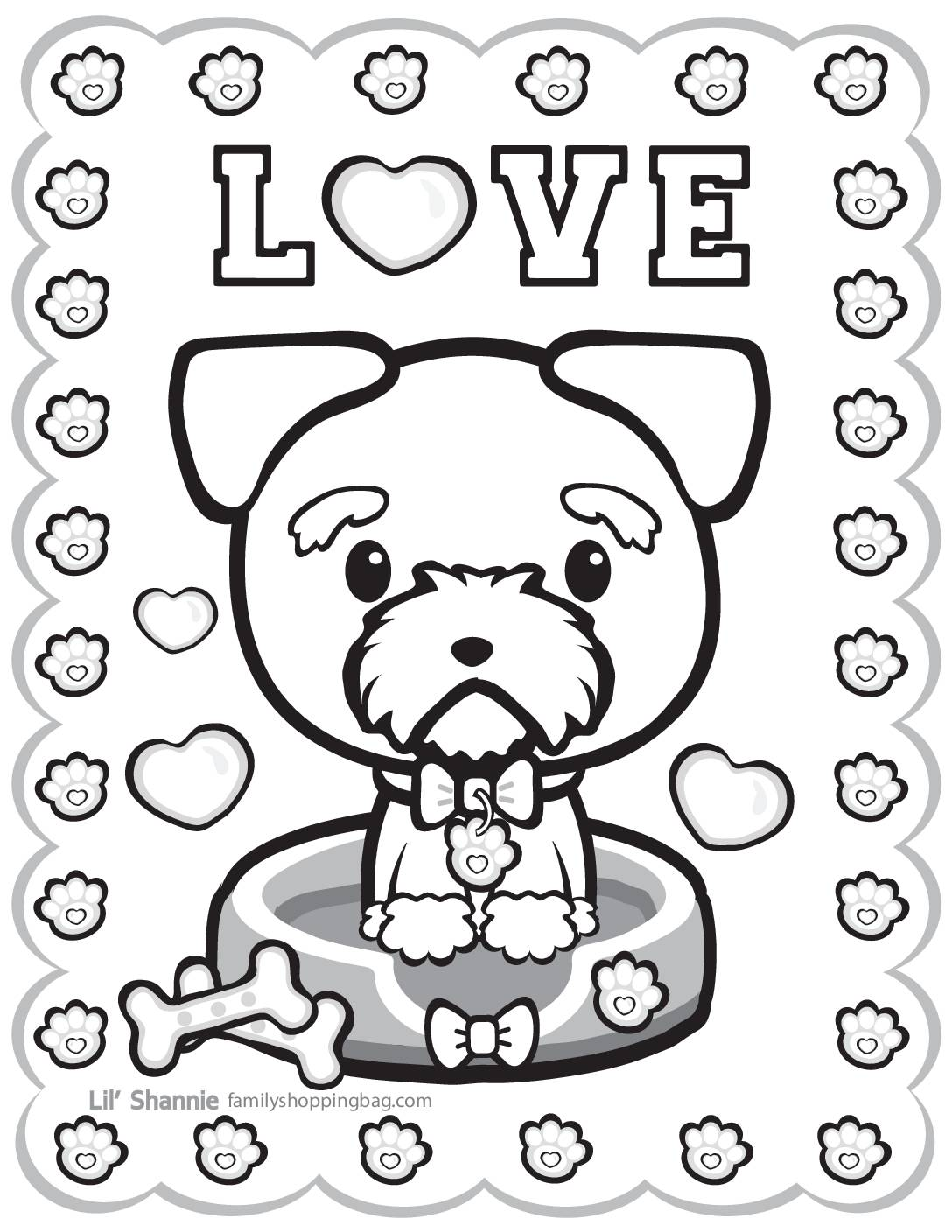 Coloring Page 6 Valentine Pups and Kittens