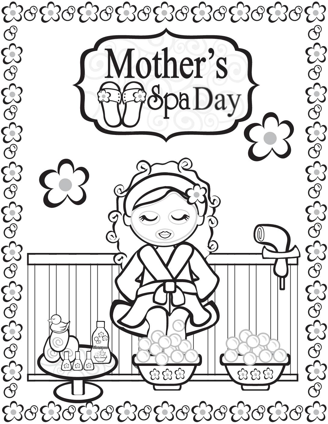 Coloring Page Moms Spa Day