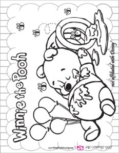 Coloring Page Pooh Shower Birthday