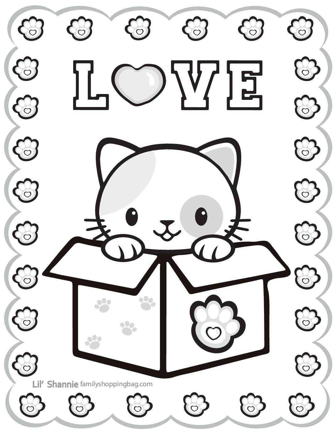 Coloring Page Valentine Pups and Kittens
