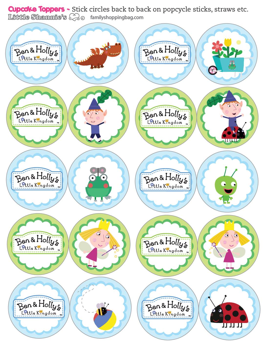 Cupcake Toppers Ben & Holly