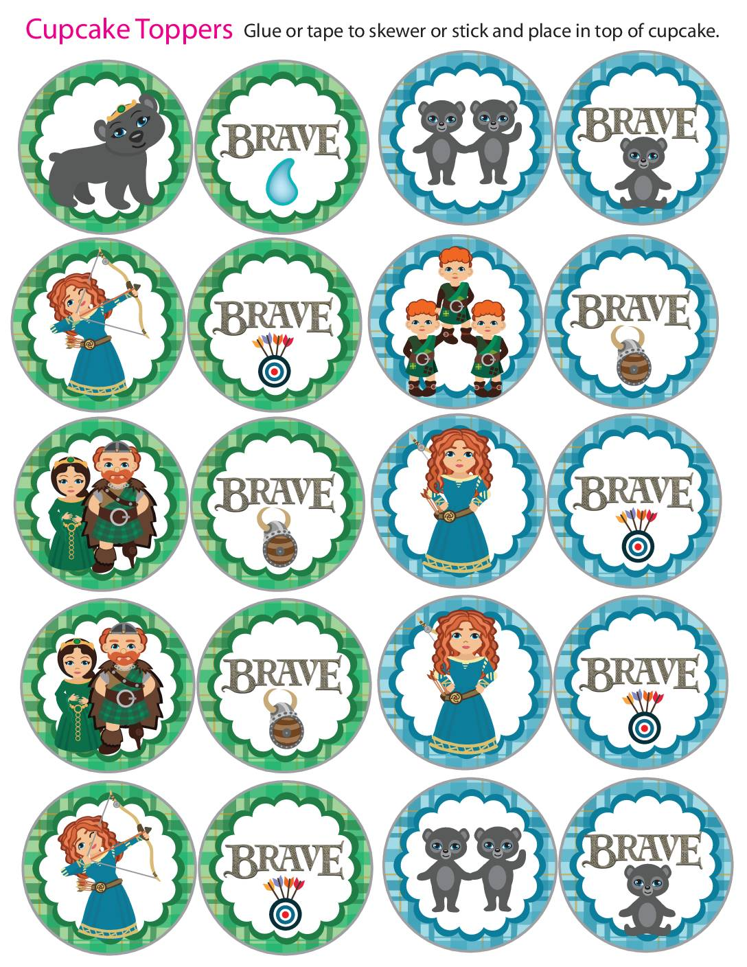 Cupcake Toppers Brave