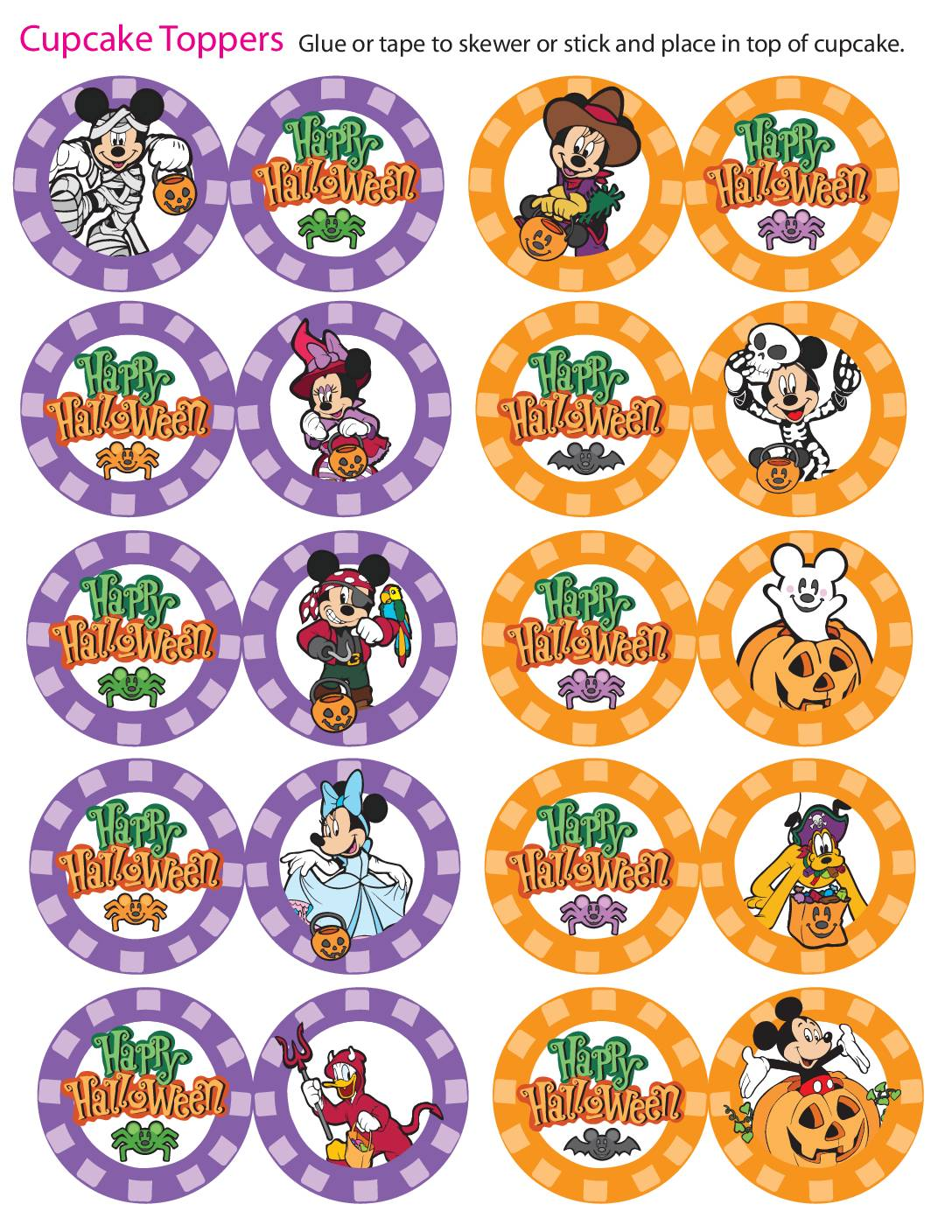 Cupcake Toppers Mickey Halloween