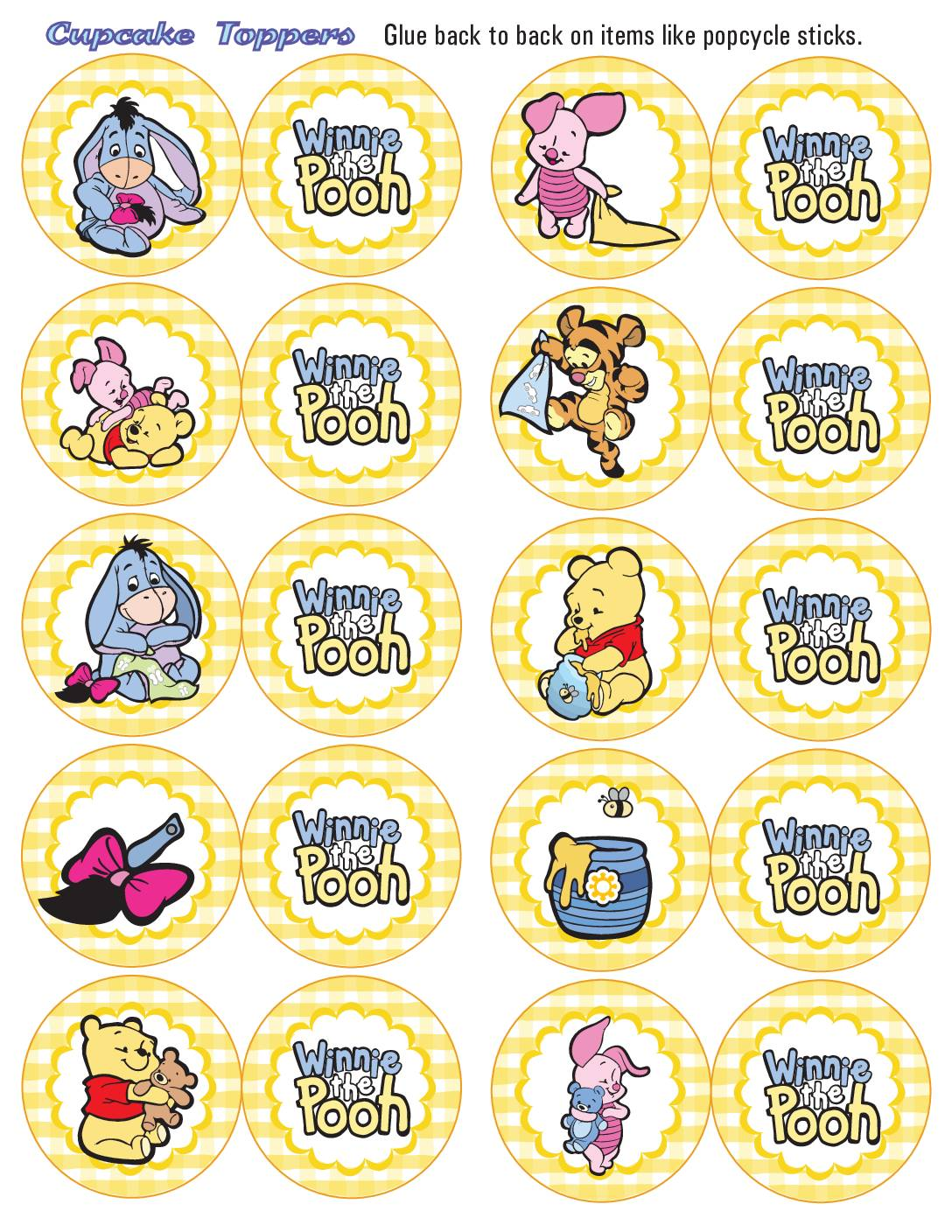 Cupcake Toppers Pooh Shower Birthday
