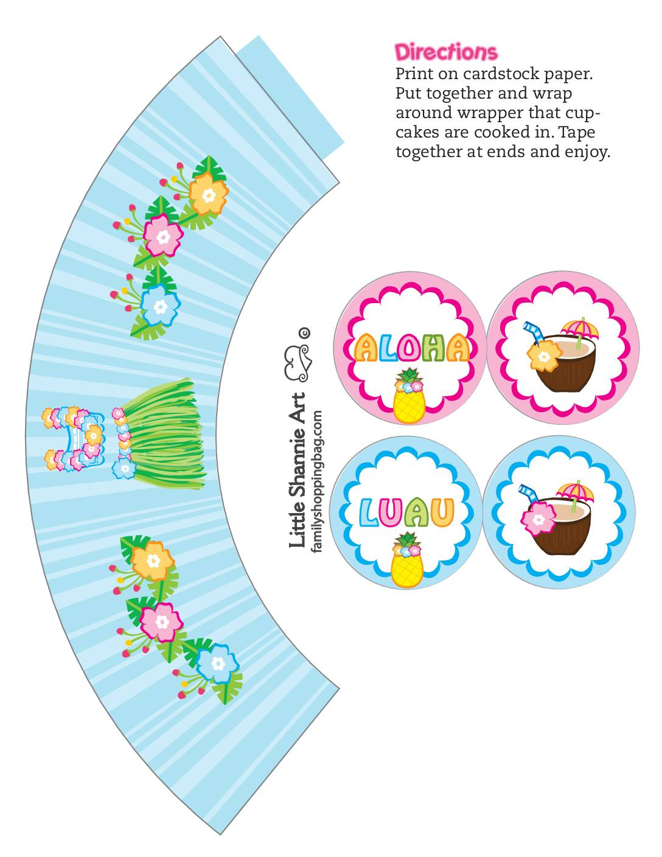 Cupcake Wrappers 2 Luau