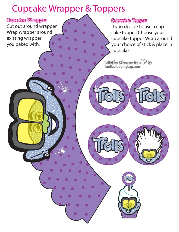 Cupcake Wrappers Boys Trolls