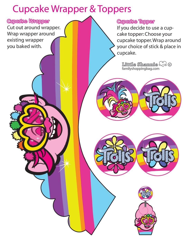 Cupcake Wrappers Girls Trolls