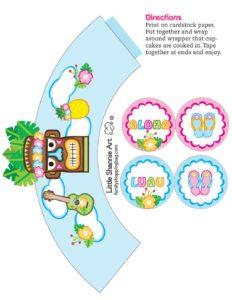 Cupcake Wrappers Luau