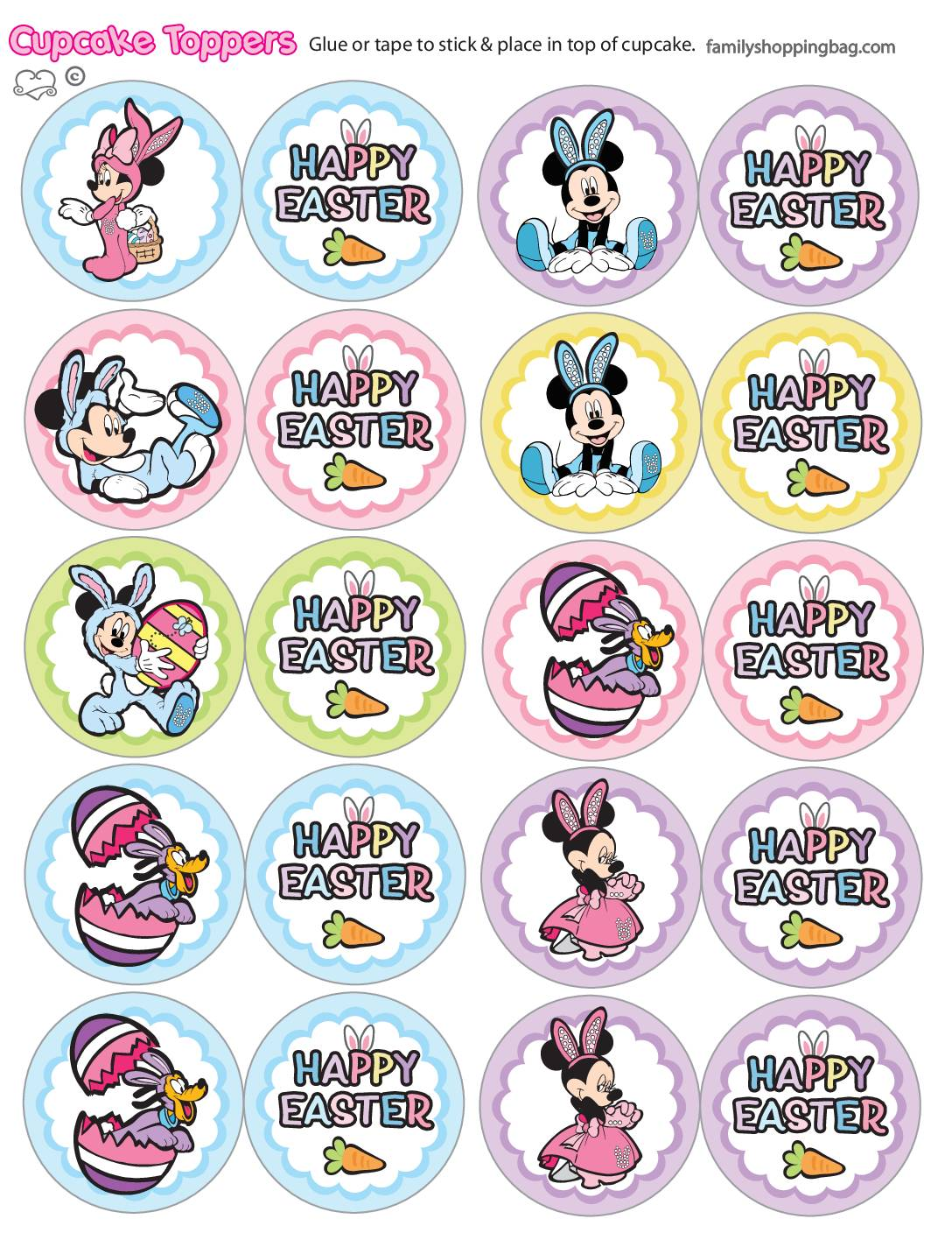 Cupcake Toppers Mickey Mouse Easter