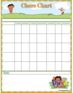 Dora Chore Chart