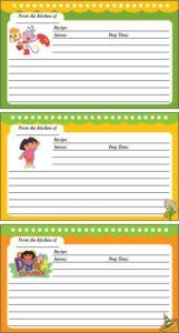 Dora Recipe Cards