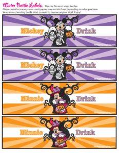 Drink Labels Mickey Halloween