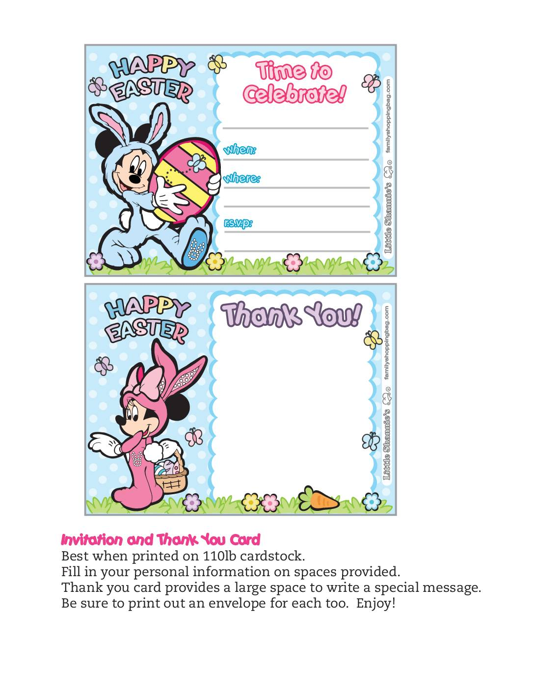 Invitation Mickey Mouse Easter