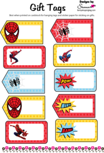 Spider Man Gift Tags