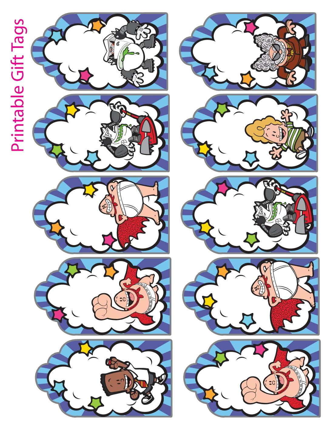 Gift Tags Captain Underpants
