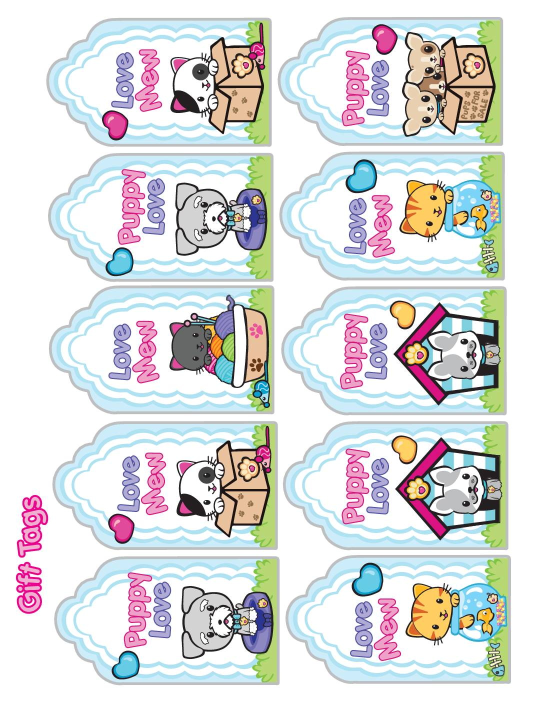 Gift Tags Valentine Pups and Kittens