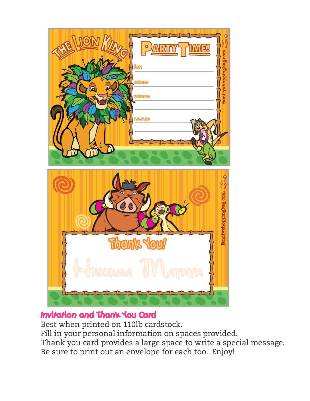 Invitation Lion King