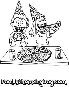 Kids In Hats Eating Pizza
