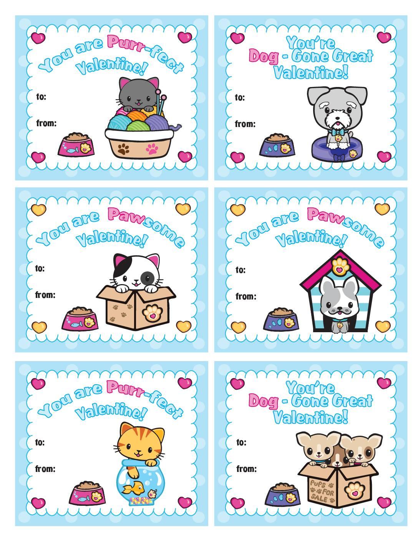 Kids School Valentine Pups and Kittens