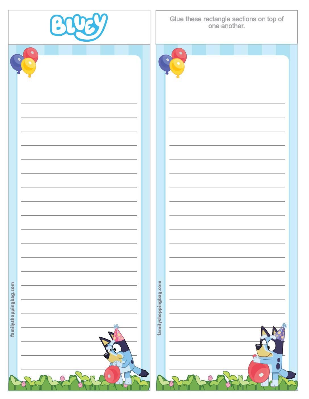 List Paper Bluey