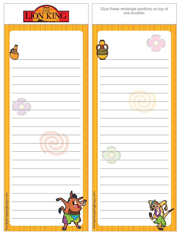 List Paper Lion King