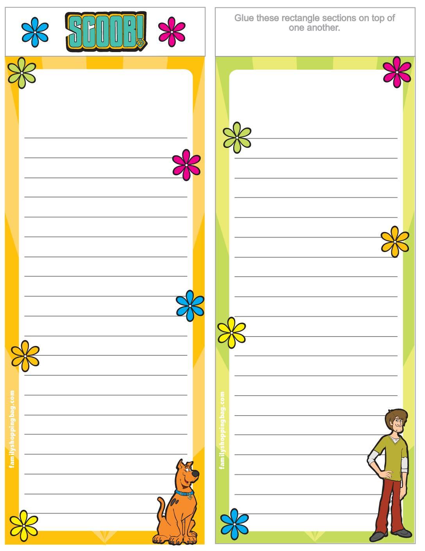 List Paper Scooby Doo