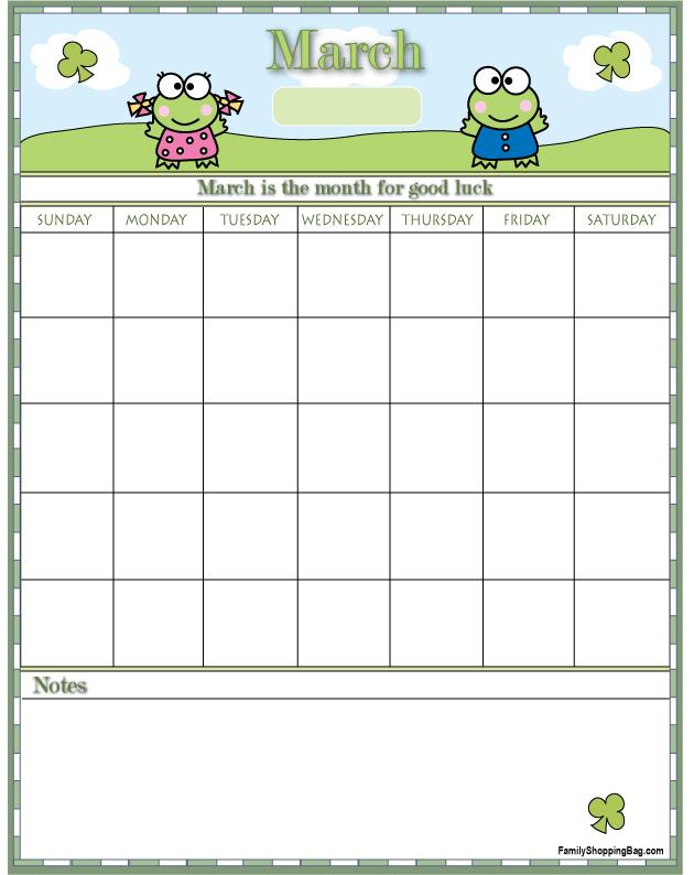 March Clovers Calendar