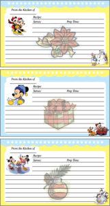 Mickey Christmas Recipe Cards