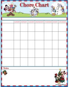 Mickey Mouse Christmas Chore Chart