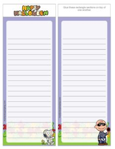Party List Paper Peanuts Halloween
