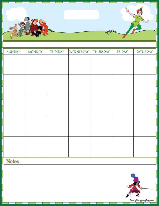 Peter Pan Calendar