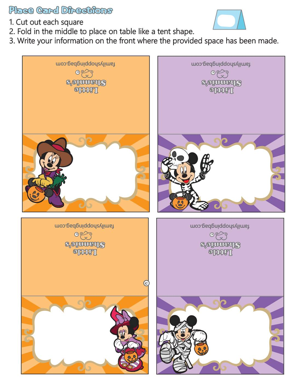 Place Card Halloween Mickey